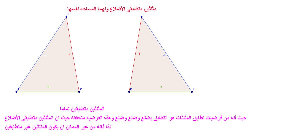 تطابق أضلاع مثلثين يجب أن يكونوا متطابقين