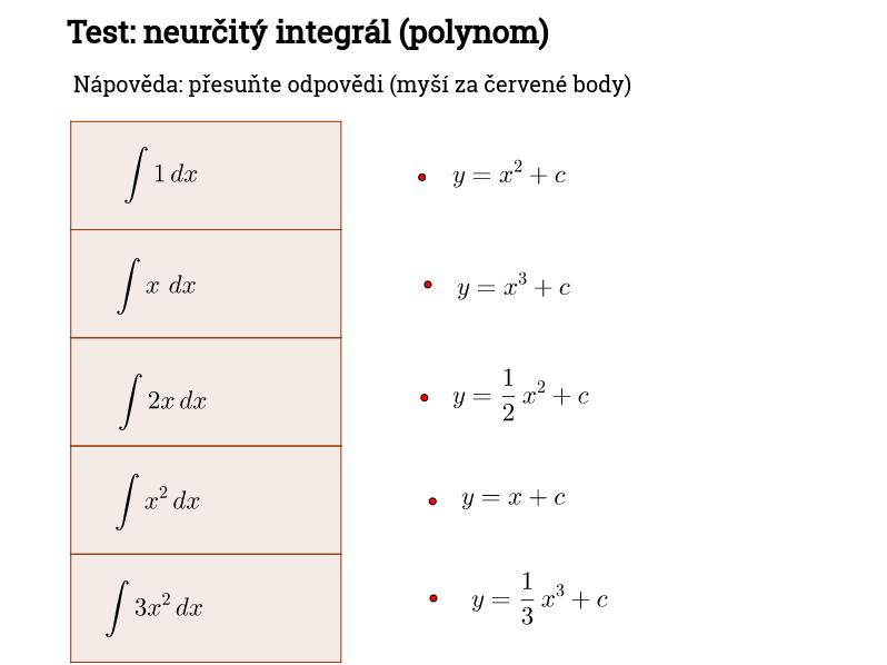 Test: neurčitý integrál (polynom)