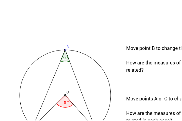Central and Inscribed Angles Subtended by the Same Arc GeoGebra – Central and Inscribed Angles Worksheet