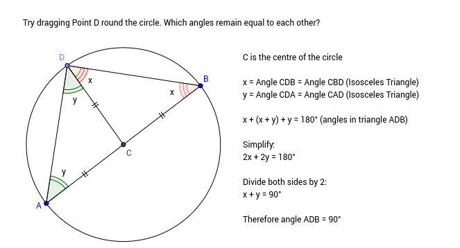 Angle in a semi-circle (proof)
