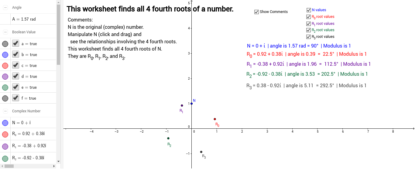 Fourth Roots of a Complex Number GeoGebra – Complex Number Worksheet