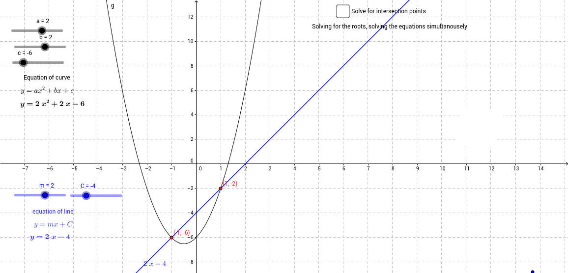Intersection of a line and a quadratic curve