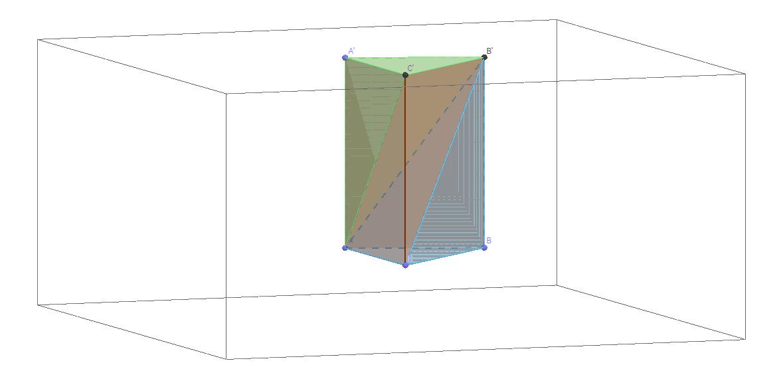 Decomposição do prisma triangular em tetraedros