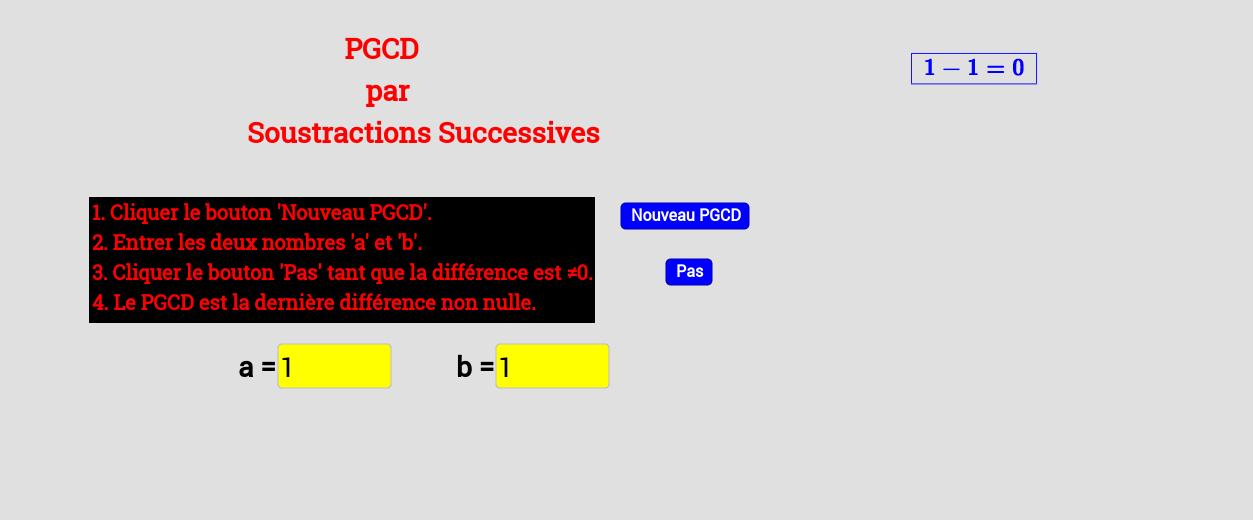 PGCD : Algorithme par la différence