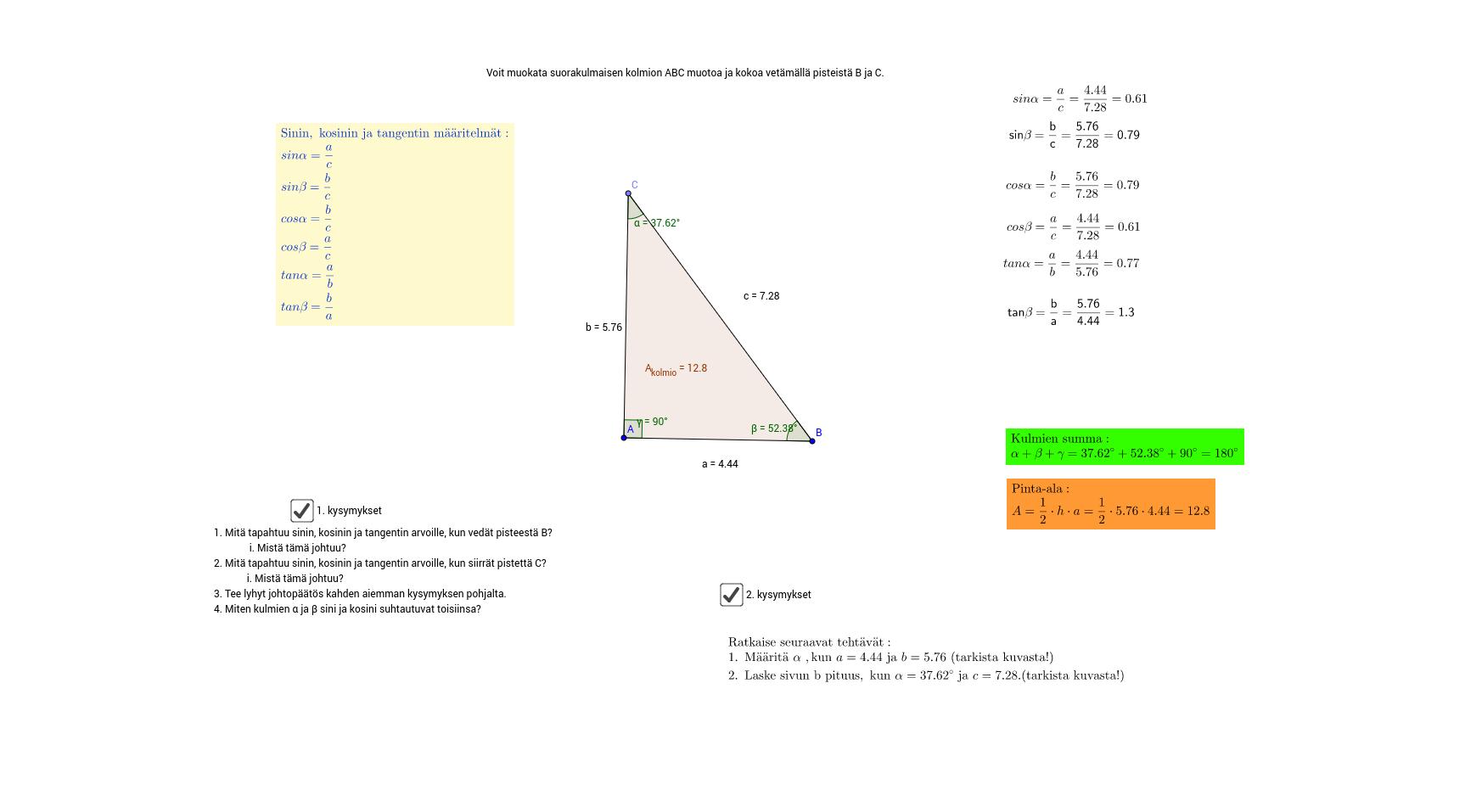 Suorakulmainen kolmio ja trigonometriset funktiot