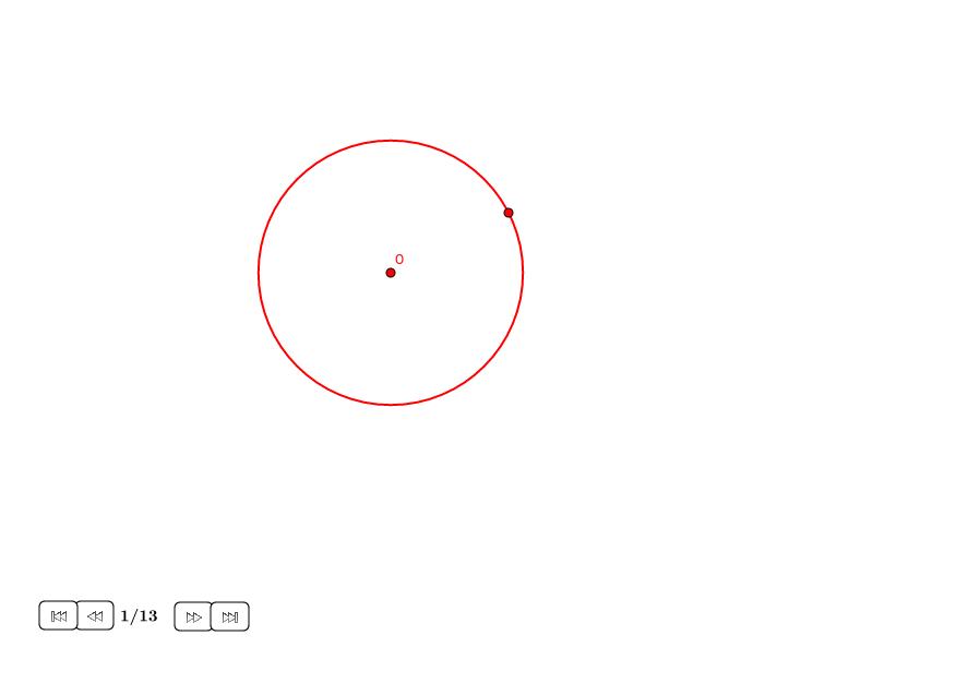 Eneágono aproximado en un círculo