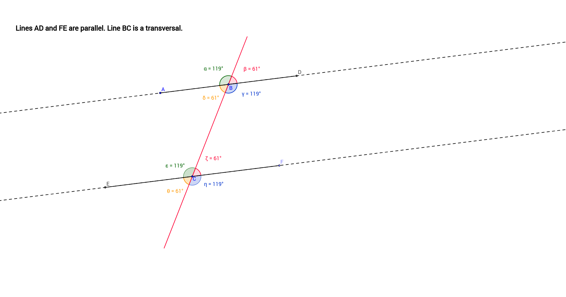 worksheet Corresponding Angles corresponding angles geogebra use points a b and c to move the lines observe angle values 2