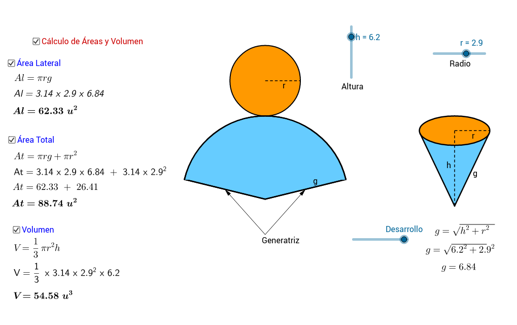 Copia: Desarrollo, Área y Volumen del cono