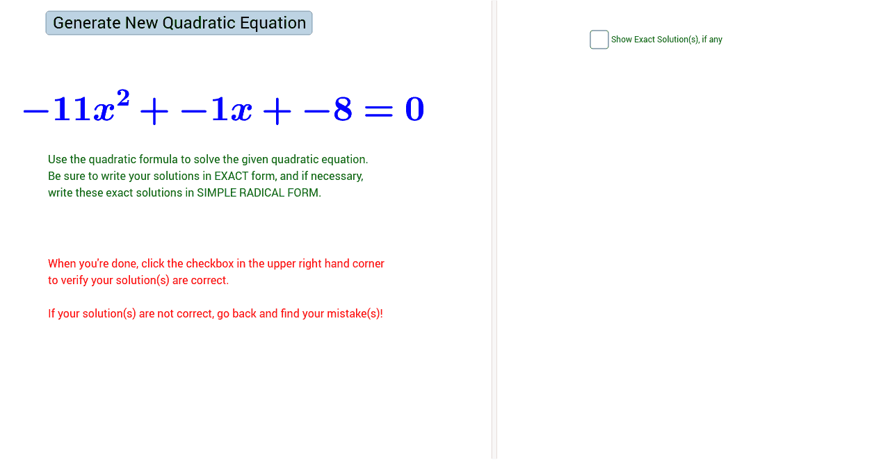 Worksheets Using The Quadratic Formula Worksheet solving quadratic equations using formula quiz geogebra