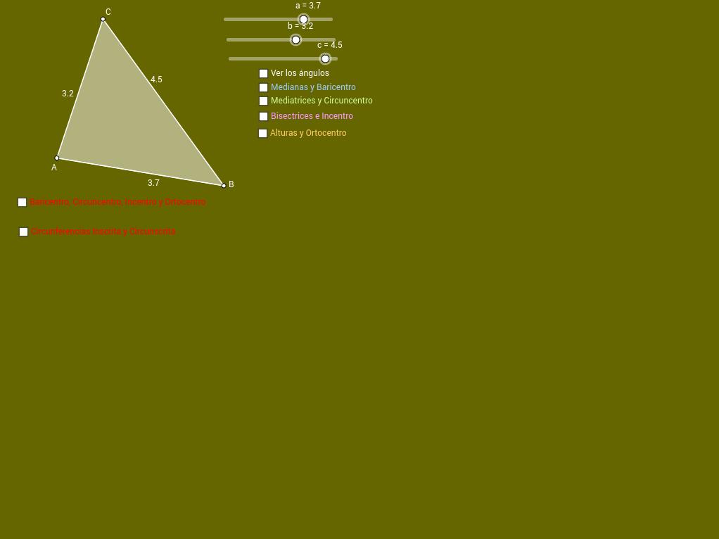Centros y Recta de Euler de un triángulo
