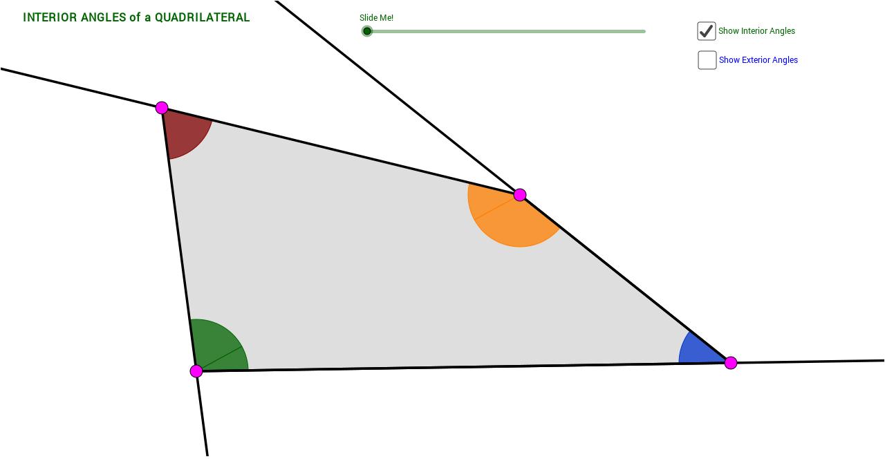 Quadrilateral Interior Exterior Angle Sum Theorems V2 Geogebra