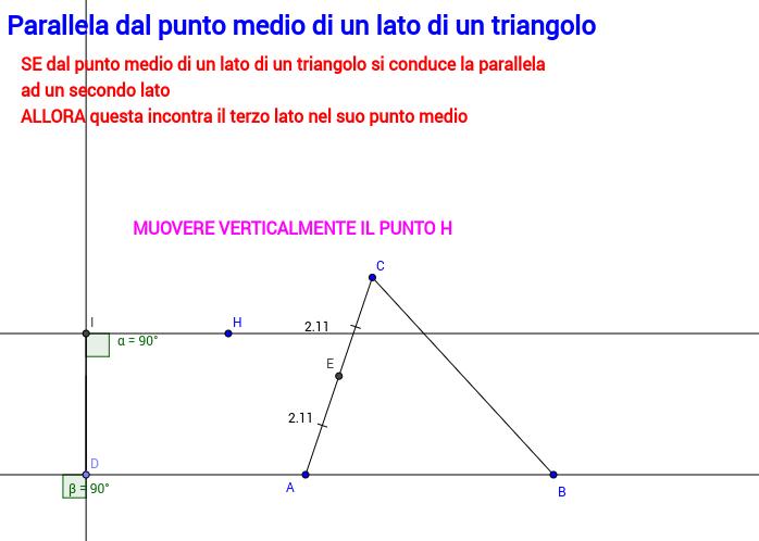 Parallela dal punto medio di un lato di un triangolo