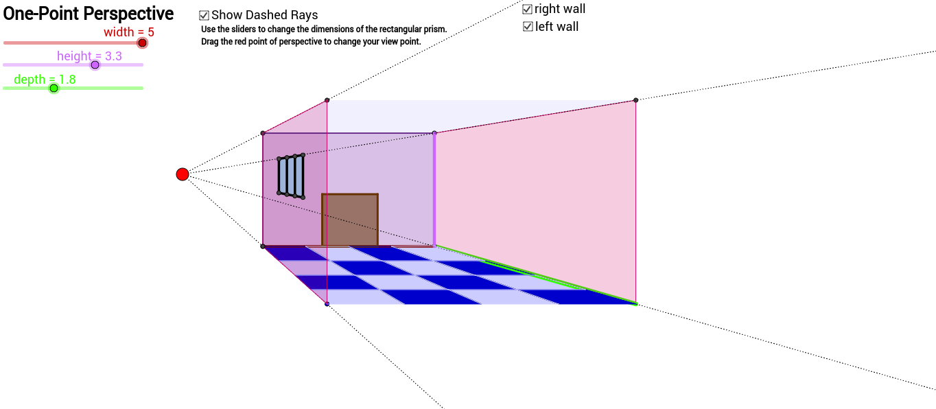 One Point Perspective ROOM with floor, window and door.