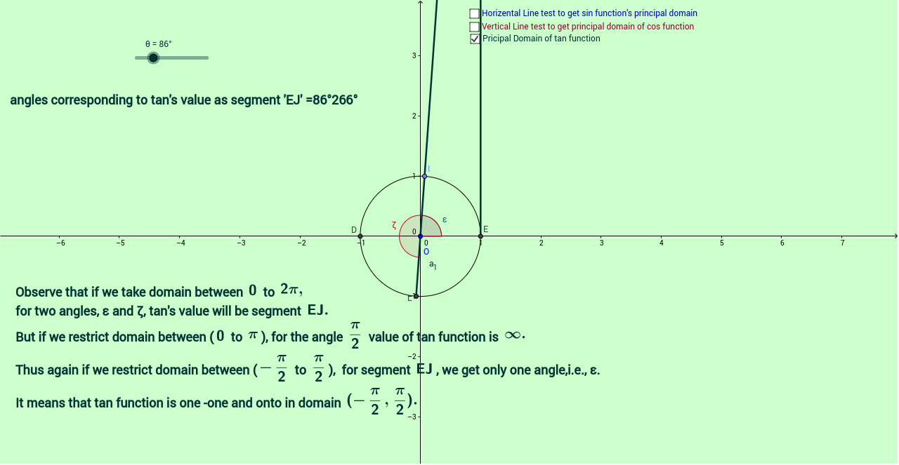 how to set the domain in geogebra