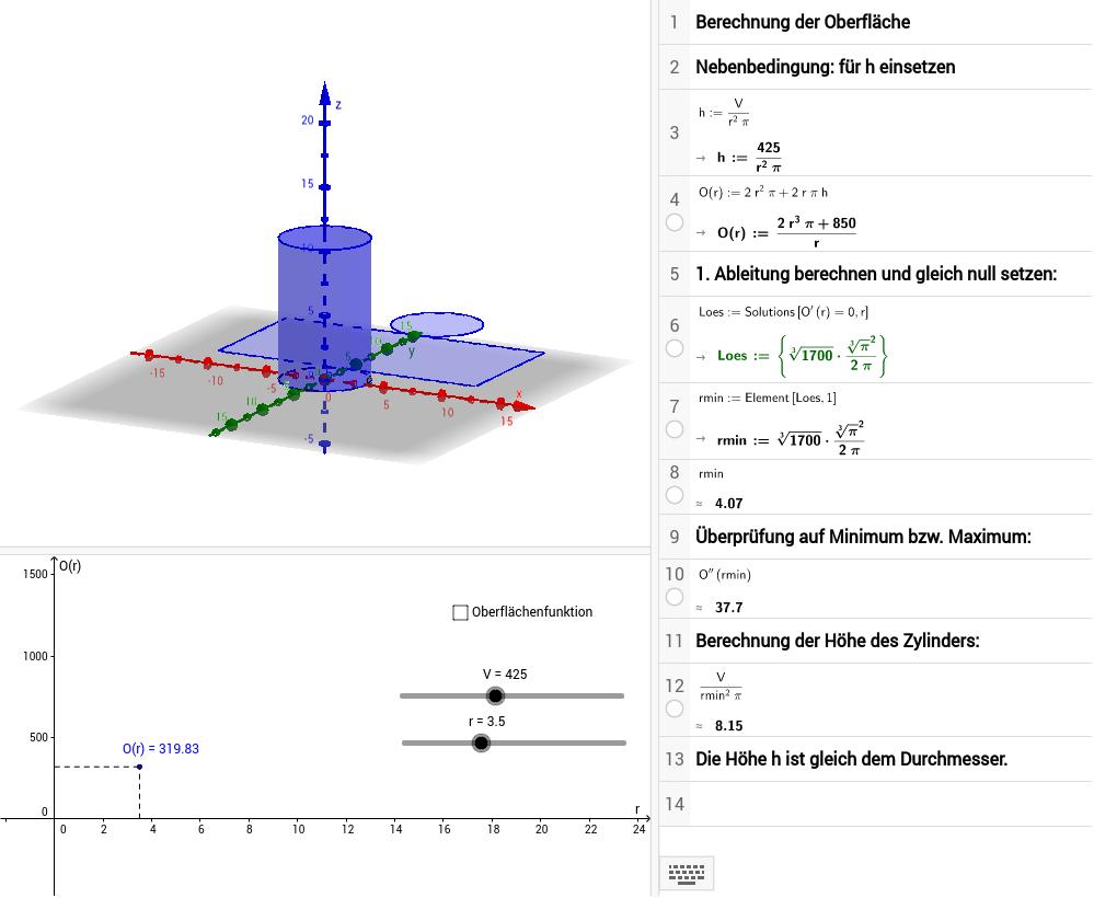Dose mit minimaler Oberfläche - GeoGebra Dynamisches Arbeitsblatt
