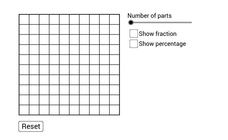 100 grid for equivalent fractions  decimals and percentages