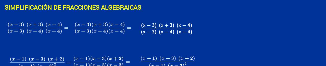 simplificación de facciones algebraica