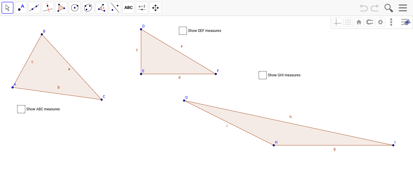 Classifying Triangles by Side Lengths GeoGebra