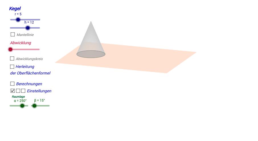 oberflache kegel ein kegel wie du die oberflche von kegeln berechnest volumen v mantelflche m. Black Bedroom Furniture Sets. Home Design Ideas
