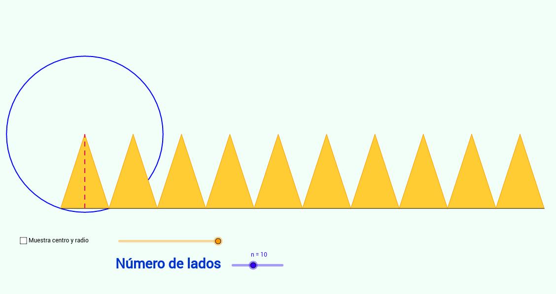 Área de polígonos regulares. Aproximación al círculo.