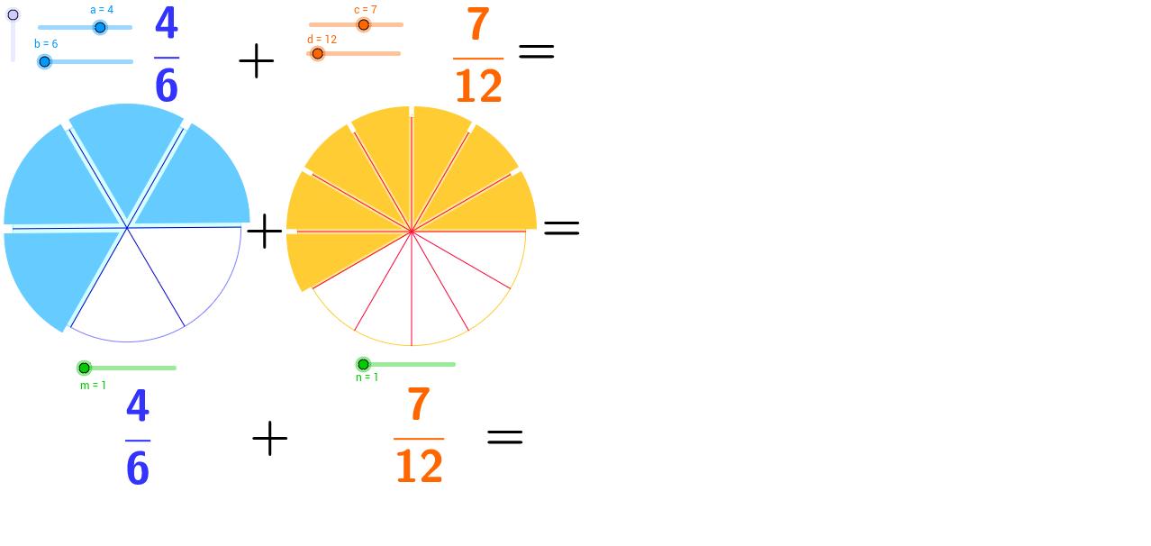 Sumando fracciones. Adding fractions.