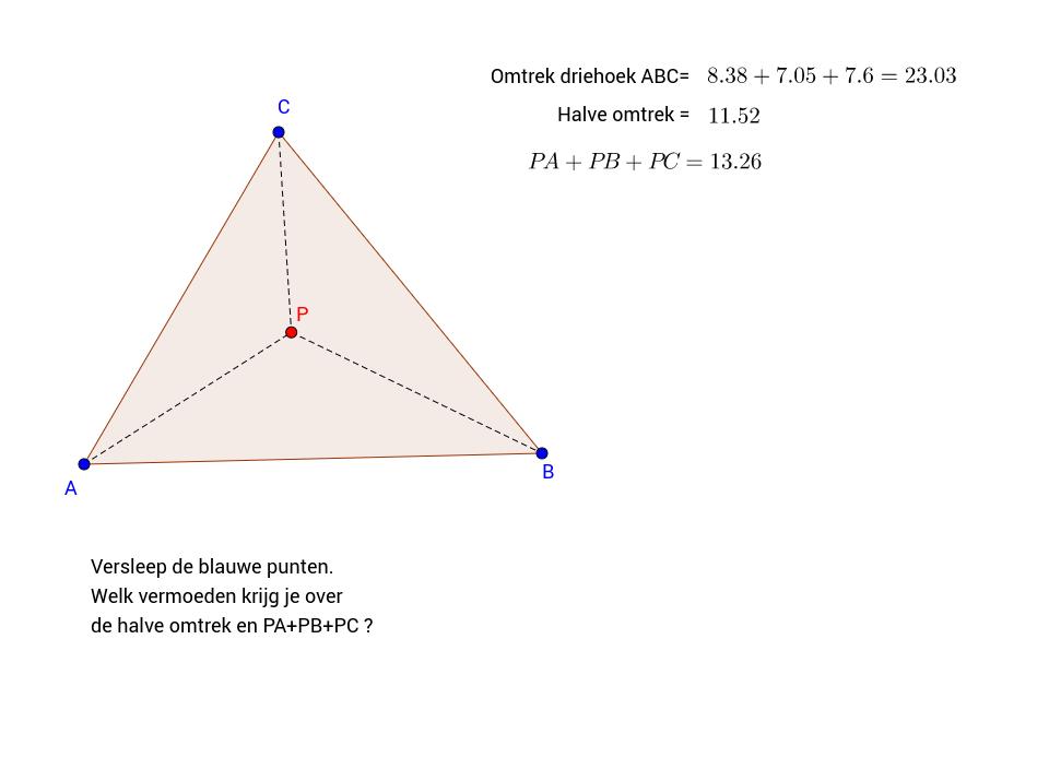 Vermoeden. Omtrek en afstand in driehoek