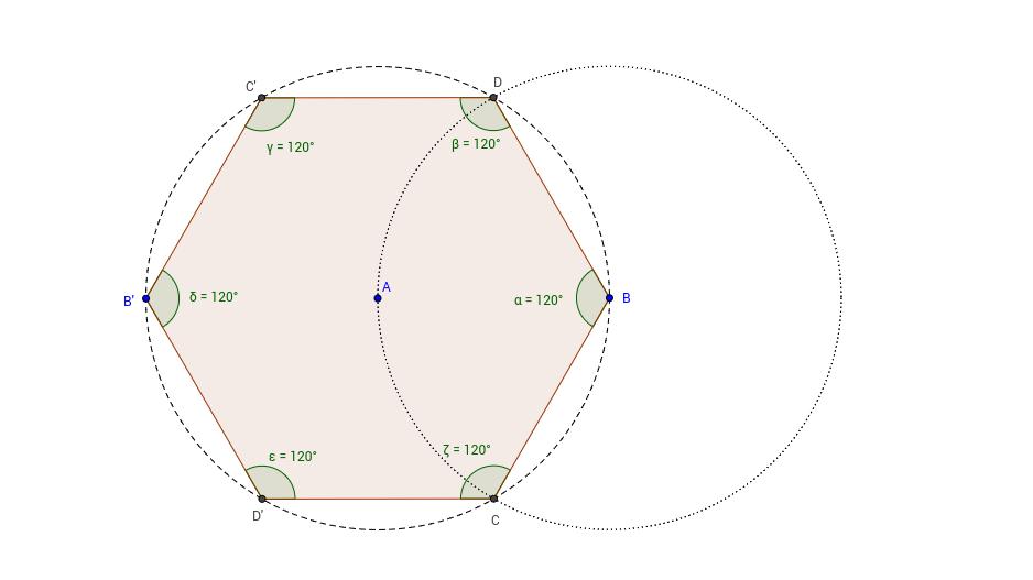 Regular Hexagon 2 Construction in GeoGebra