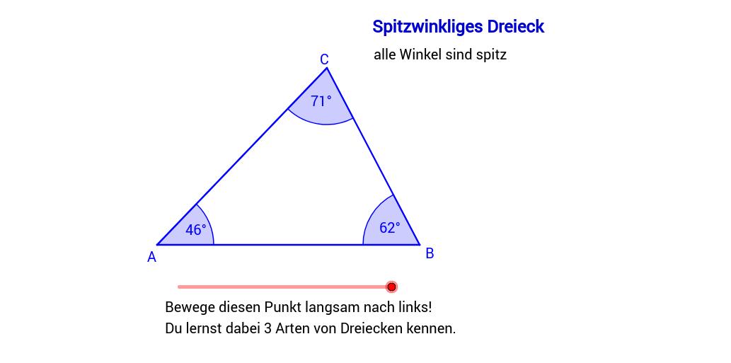 Einteilung der Dreiecke nach ihren Winkeln – GeoGebra