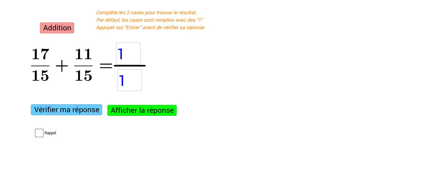 Additions de fractions (Niveau 1)