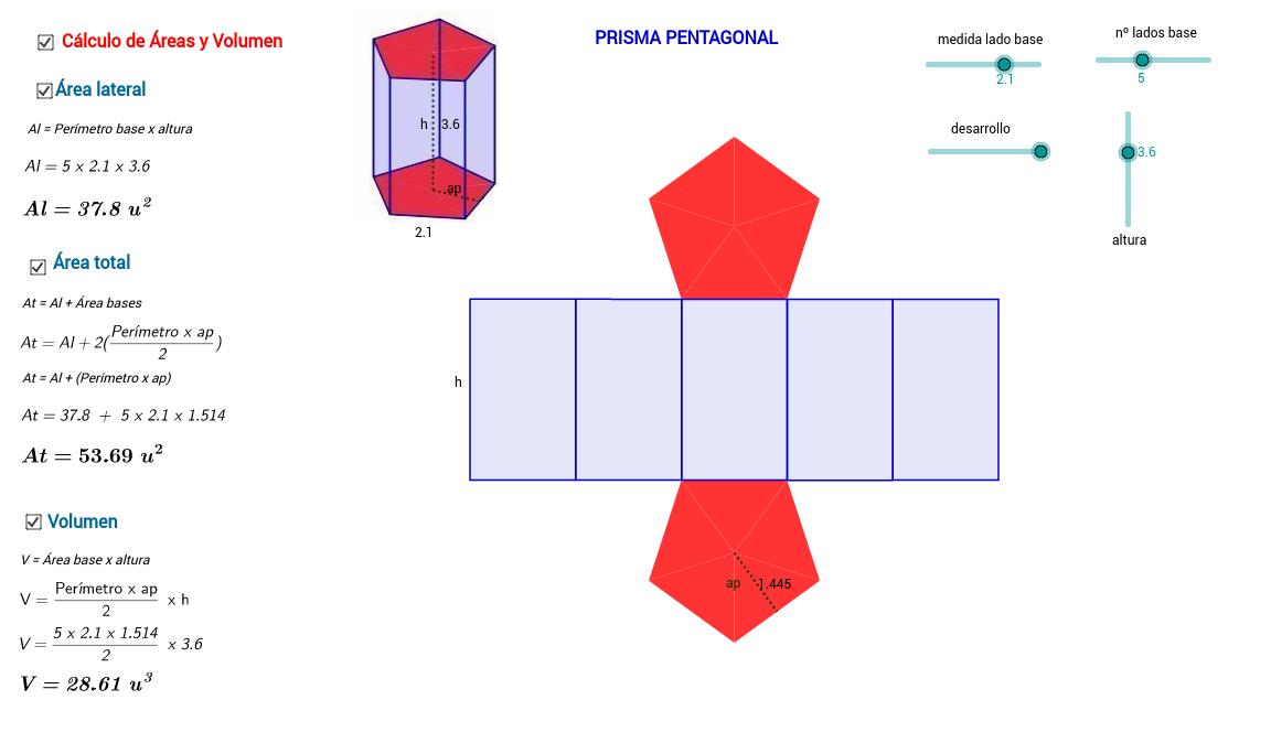 Desarrollo, Área y Volumen del Prisma