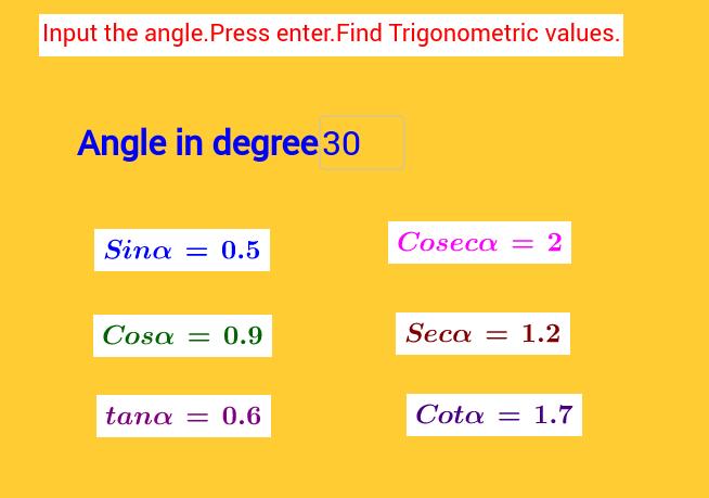 Easy access of Trigonometric values