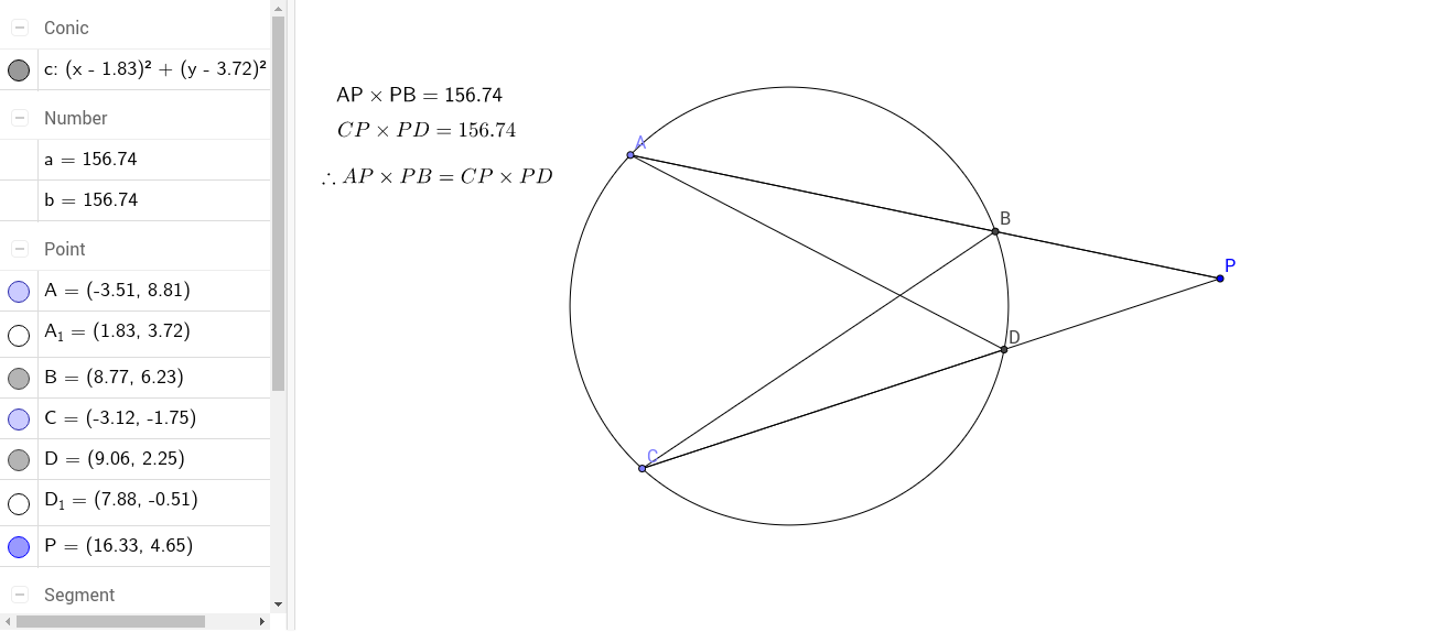 Two Chords Intersecting Outside A Circle Geogebra