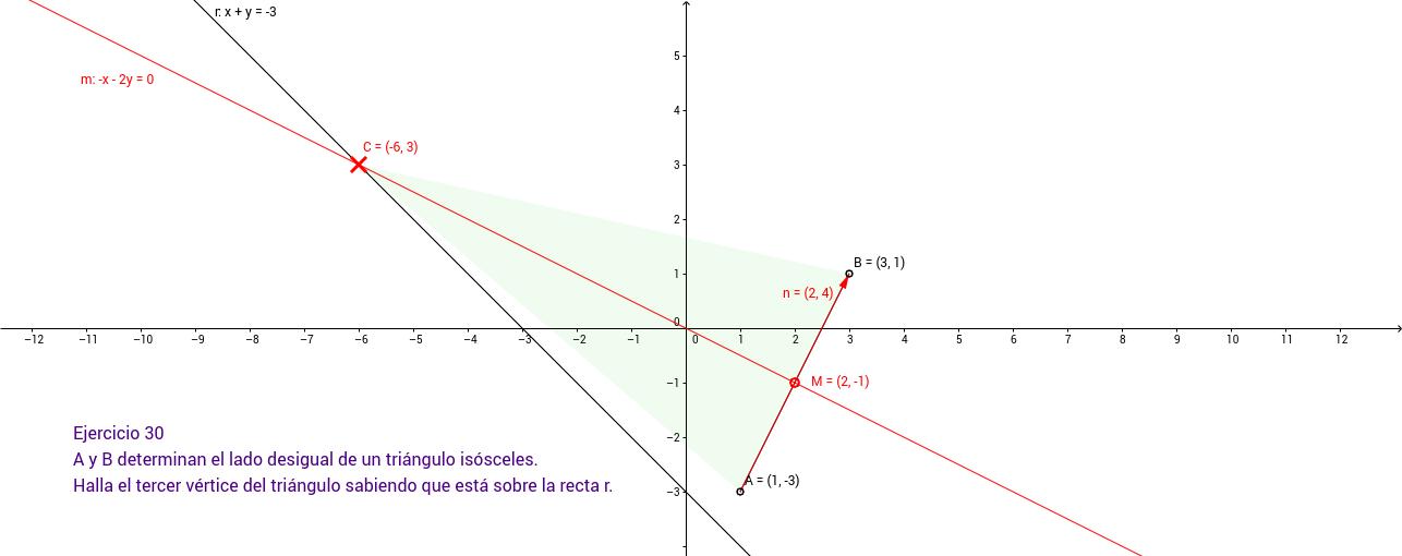 Ejercicio 30. Geometría en el plano