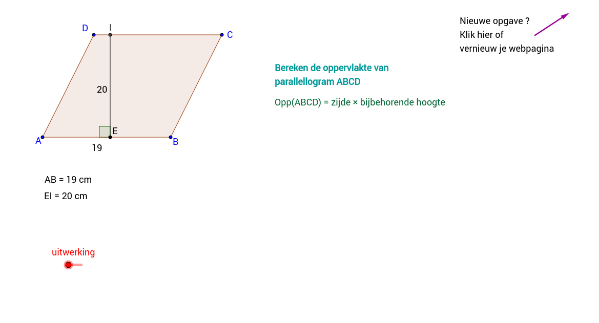 Parallellogram: 3 opgaven met oppervlakte