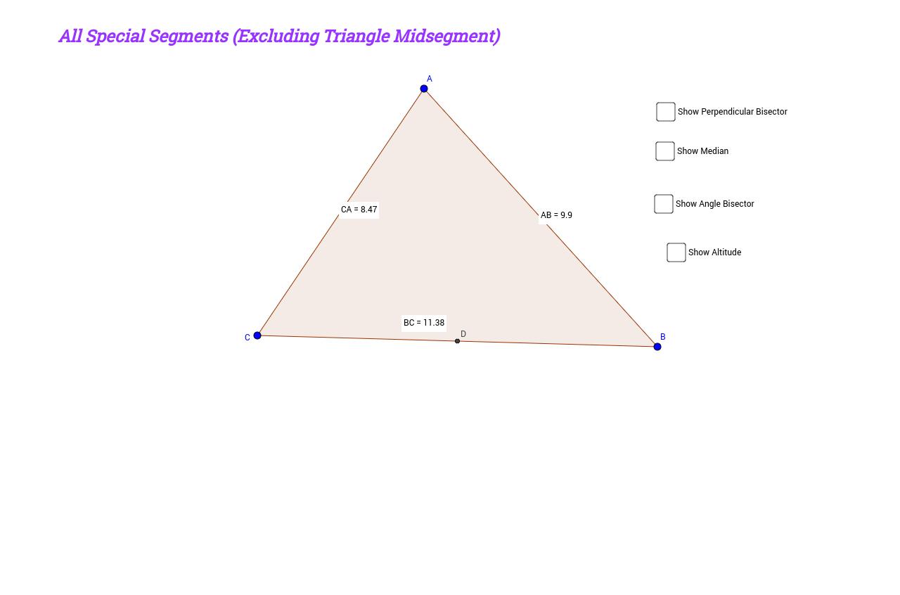 worksheet Special Segments In Triangles Worksheet all special segments excluding triangle midsegment geogebra