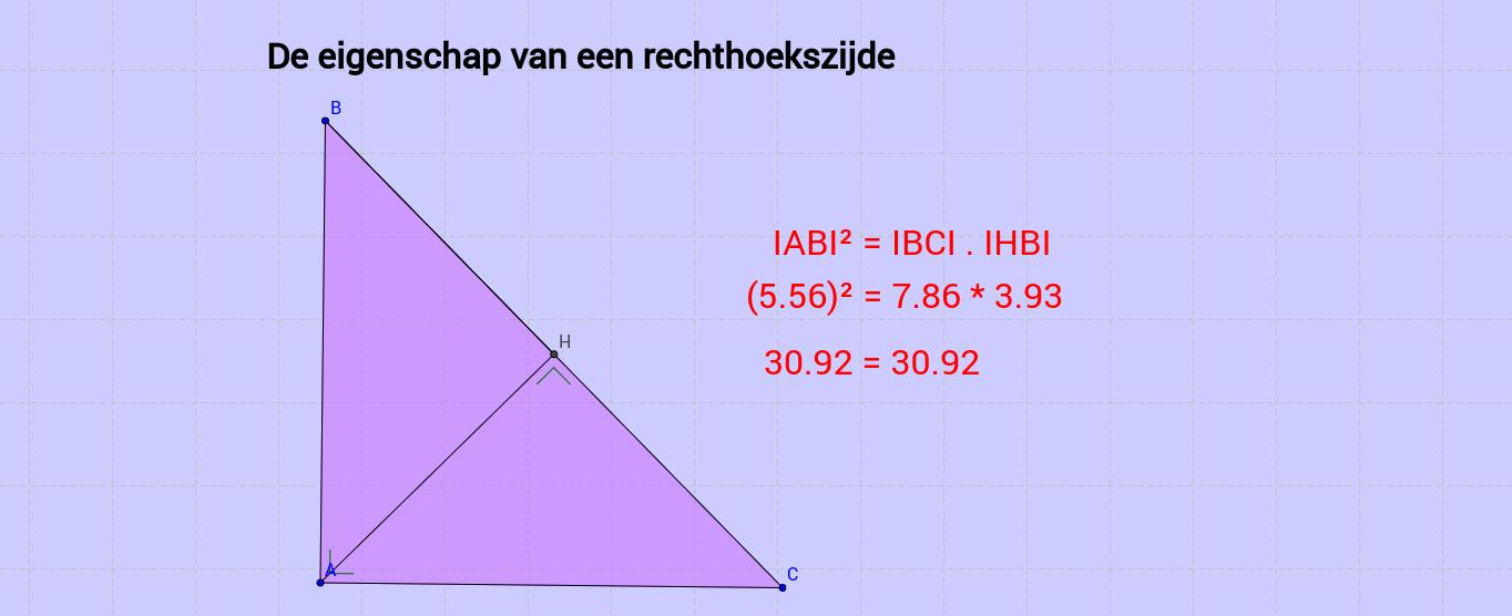 De eigenschap van de rechthoekszijde