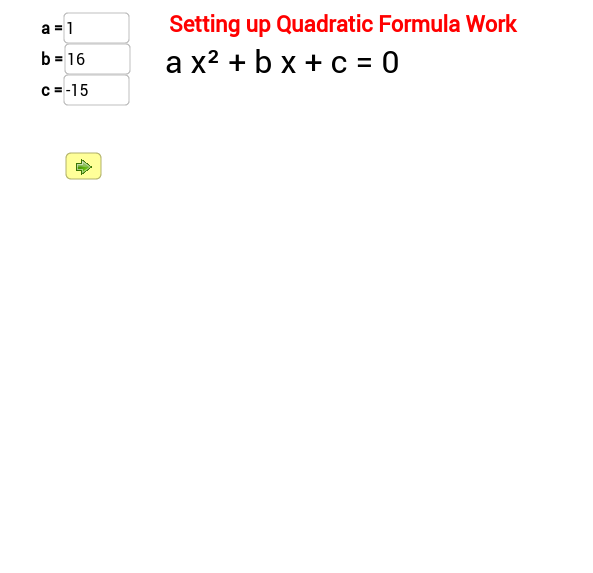 Setting up Quadratic Formula