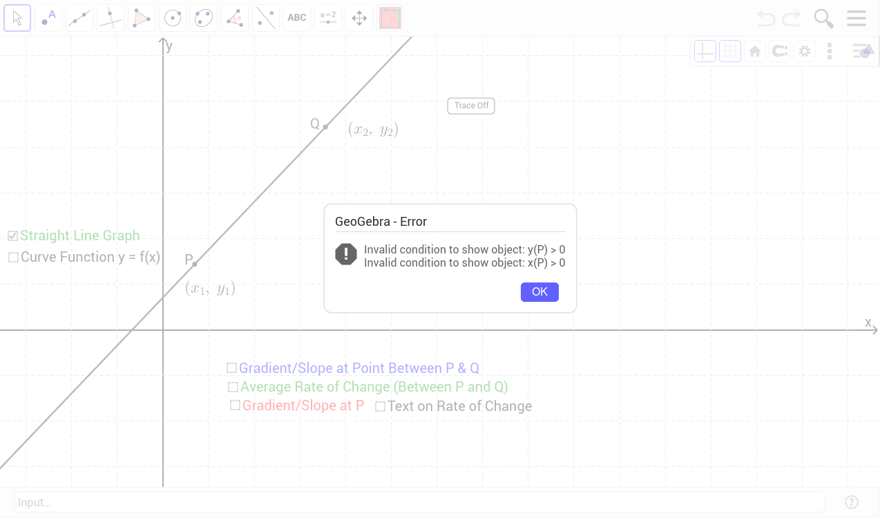 worksheet Average Rate Of Change Worksheet gradient average and instantaneous rate of change geogebra observe the a straight line click on relevant checkboxes move point q by dragging with mouse cursor left button pre