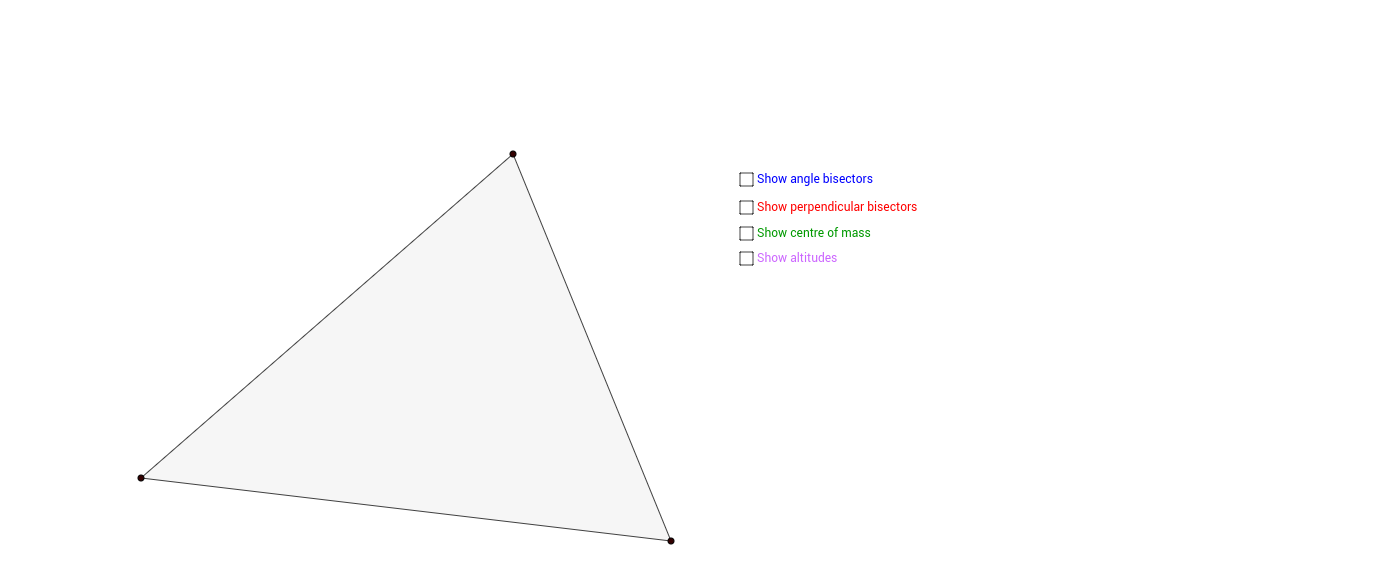 The four centres of a triangle