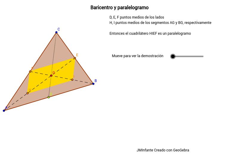 Propiedades del baricentro de un triángulo