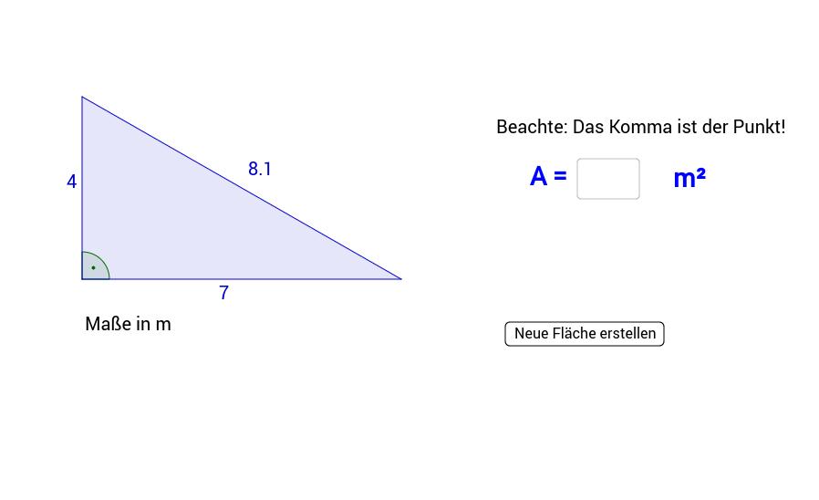 Flächeninhalt des rechtwinkligen Dreiecks 2