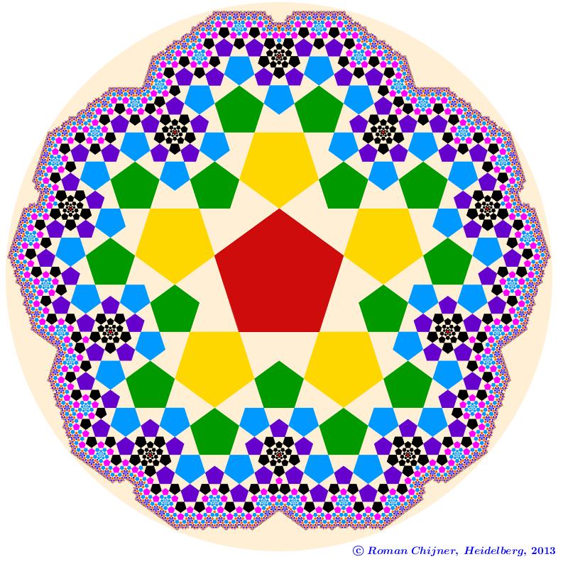 Golden section in pentagonal fractal