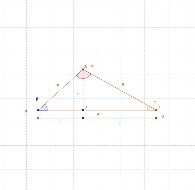 Teorema di Carnot - calcolo h del triangolo ABC