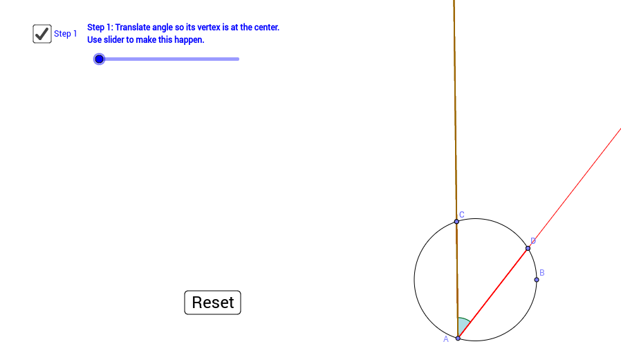 Inscribed angle is half of its central angle