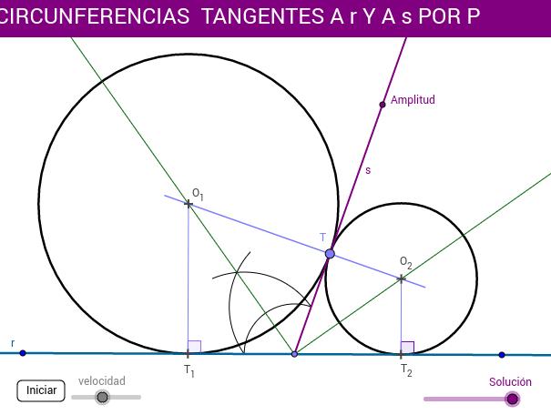 Tangentes de radio desconocido (circunferencias a r y s)