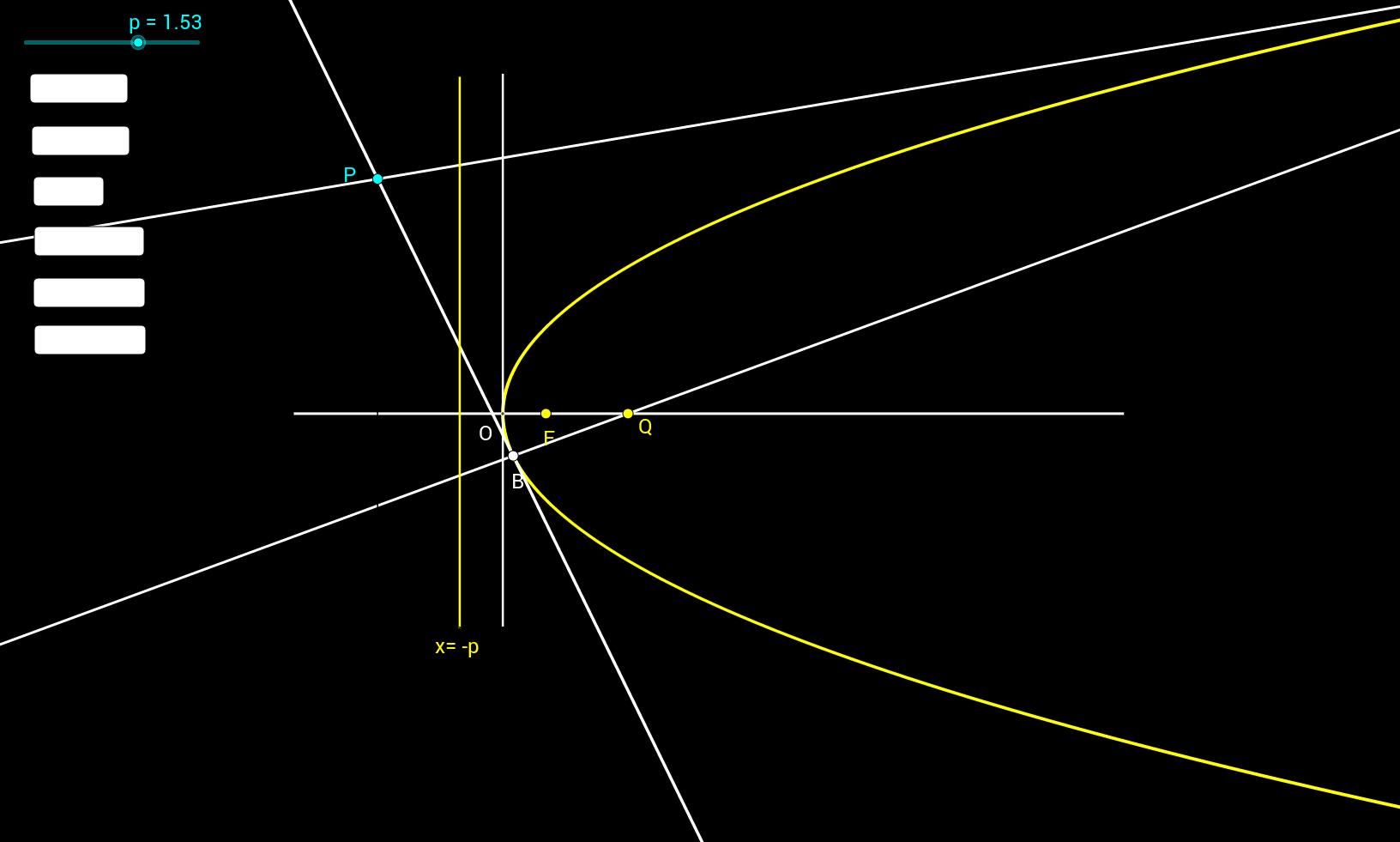 포물선_축의정점을지나는직선에 대한 극점의자취