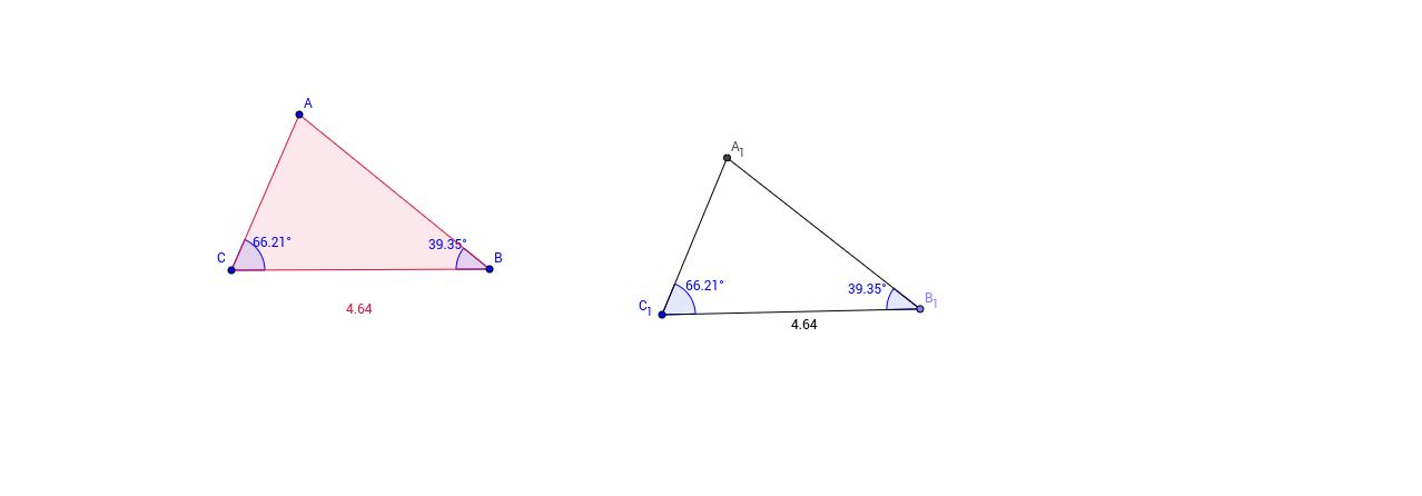 Reconstrucción de un triángulo por el caso ALA.