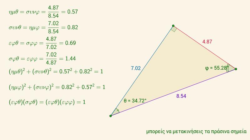 τριγωνομετρία ορθ. τριγώνου