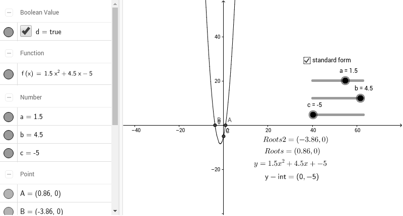 Standard Form Change Function Geogebra