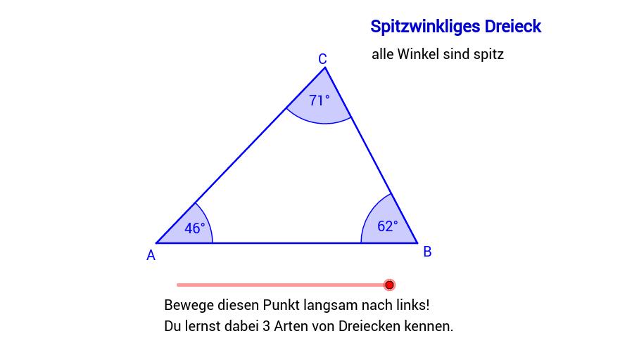 Einteilung der Dreiecke nach den Winkeln